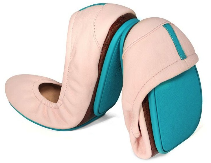 85eb9ee46 I ordered ballerina pink Tieks, which not only matched by wedding colors,  (blush and gray) but had bright blue soles. Something blue!