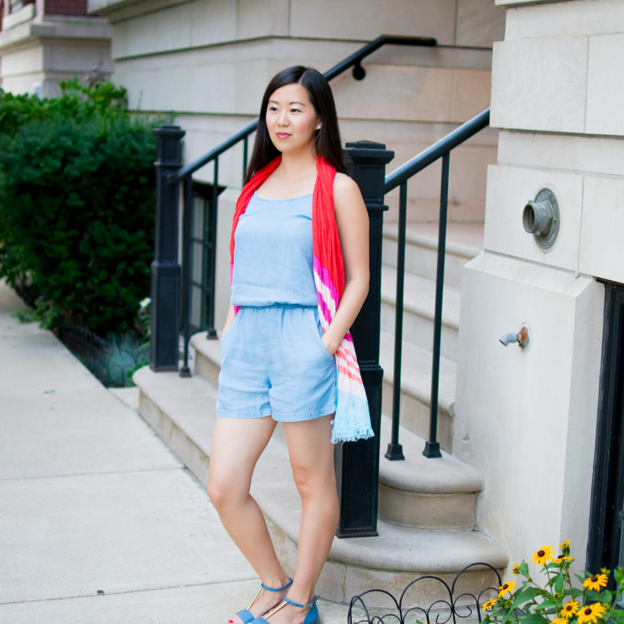 Chambray Romper & The Comfiest Leather Sandals