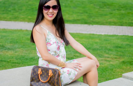 A Front Tie Summer Dress & Red Bow Tie Flats