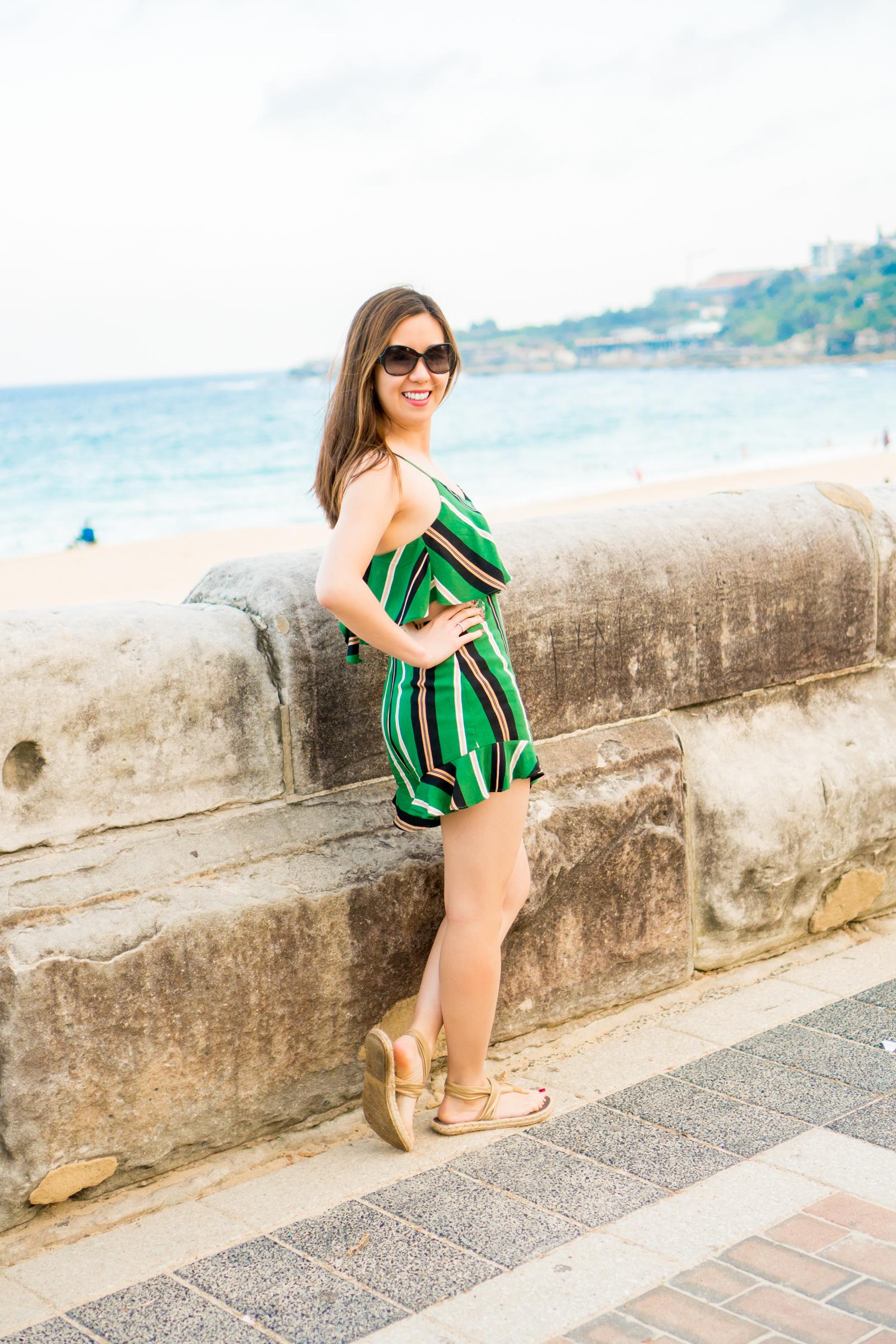 99e7168ab650 green stripe romper bondi beach sydney australia tia perciballi fashion blog