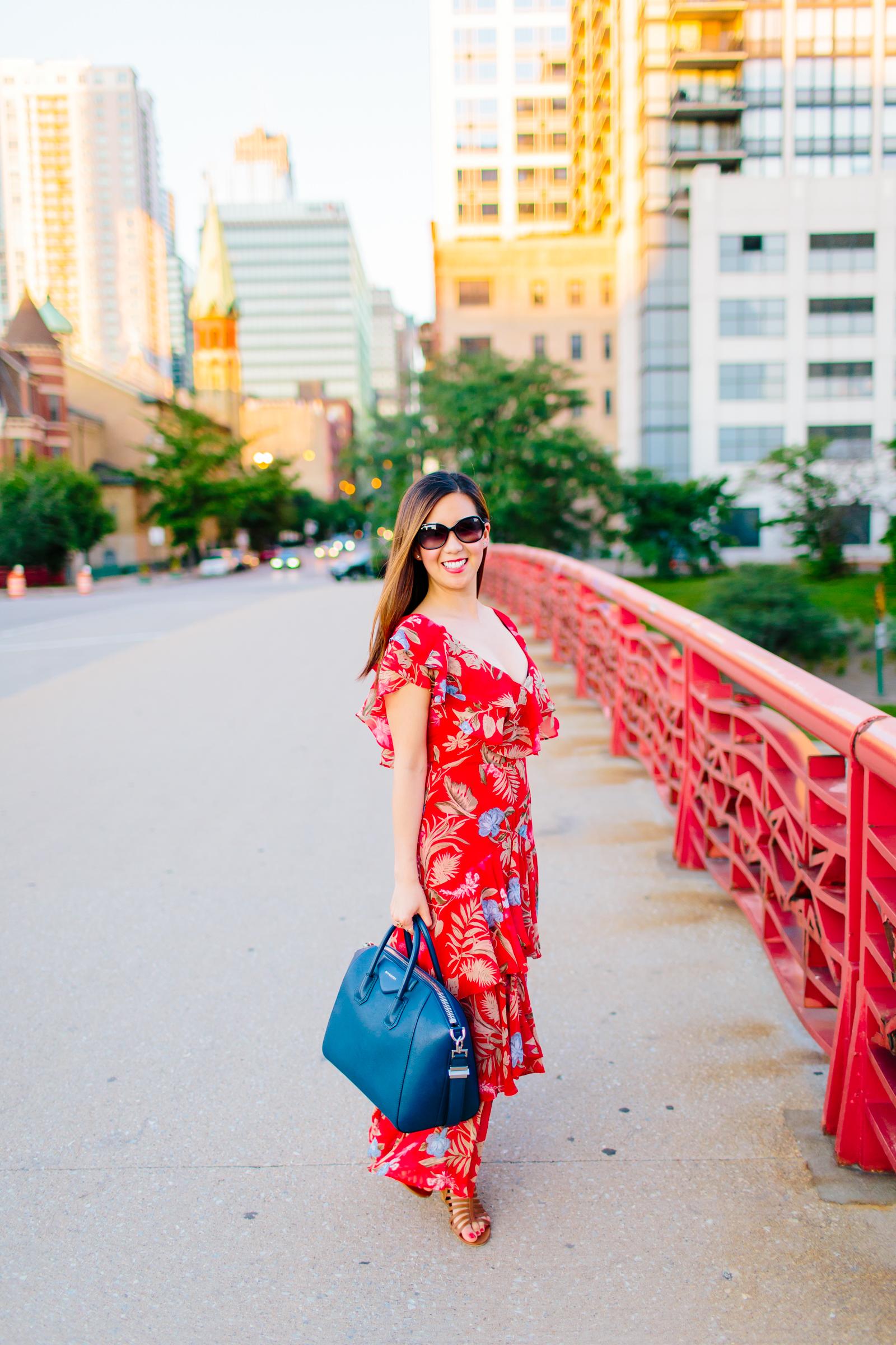 6497cbcea470d Wayf Chelsea Tiered Red Ruffle Dress, Givenchy Antigona, Tia Perciballi  Chicago Fashion and Lifestyle