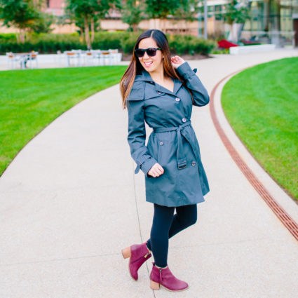 Blue Gray, Water-Resistant Trench Coat