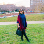 Red and Blue Ombre Painted Poncho