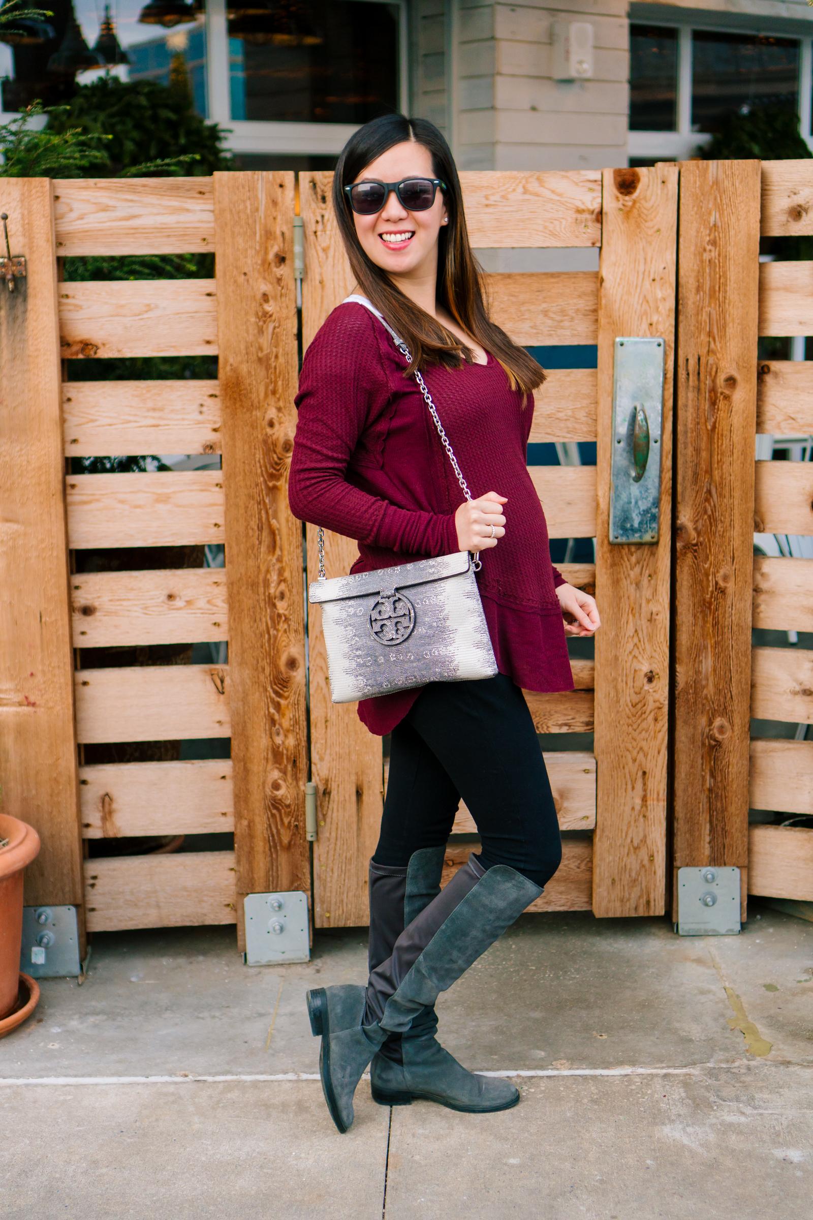 Plum V-Neck Thermal Top, Tia Perciballi Fashion & Lifestyle Blog