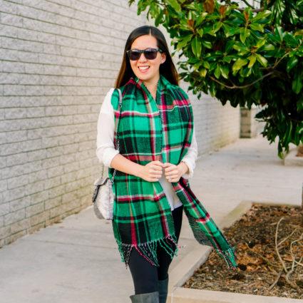 Green Plaid Scarf and Silk Shirt