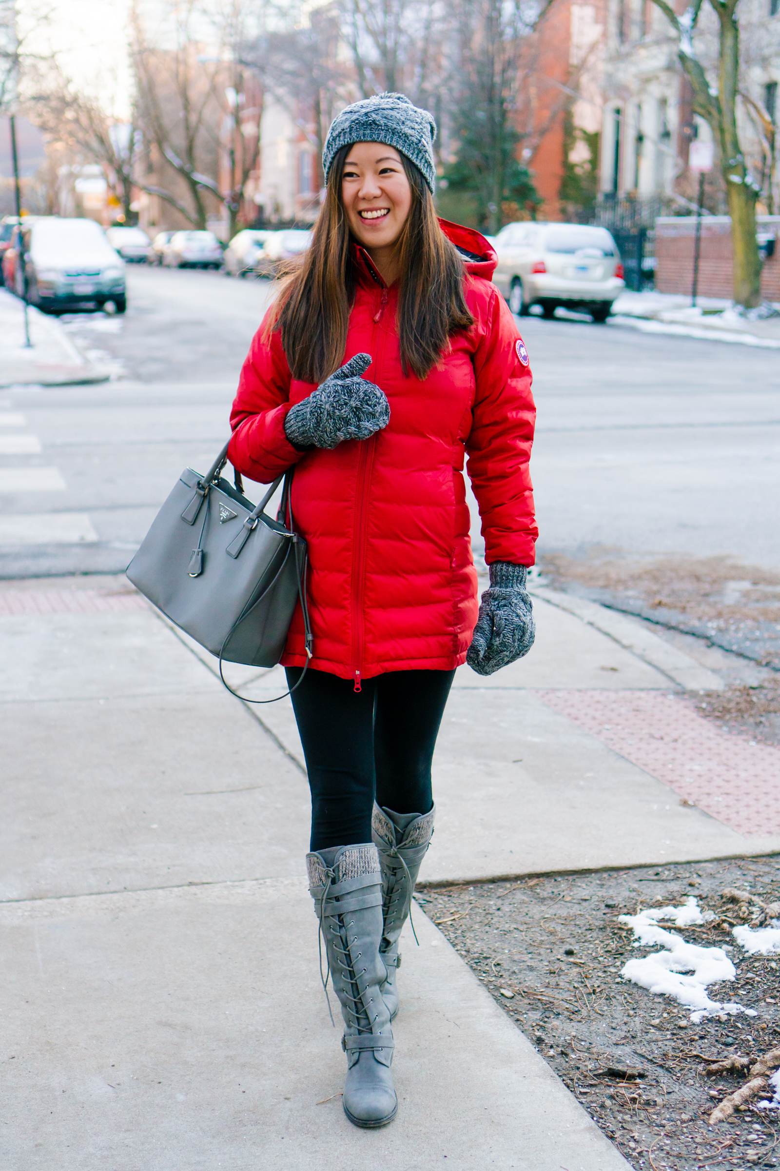 Red Canada Goose Down Puffer Coat, Tia Perciballi Fashion & Lifestyle Blog