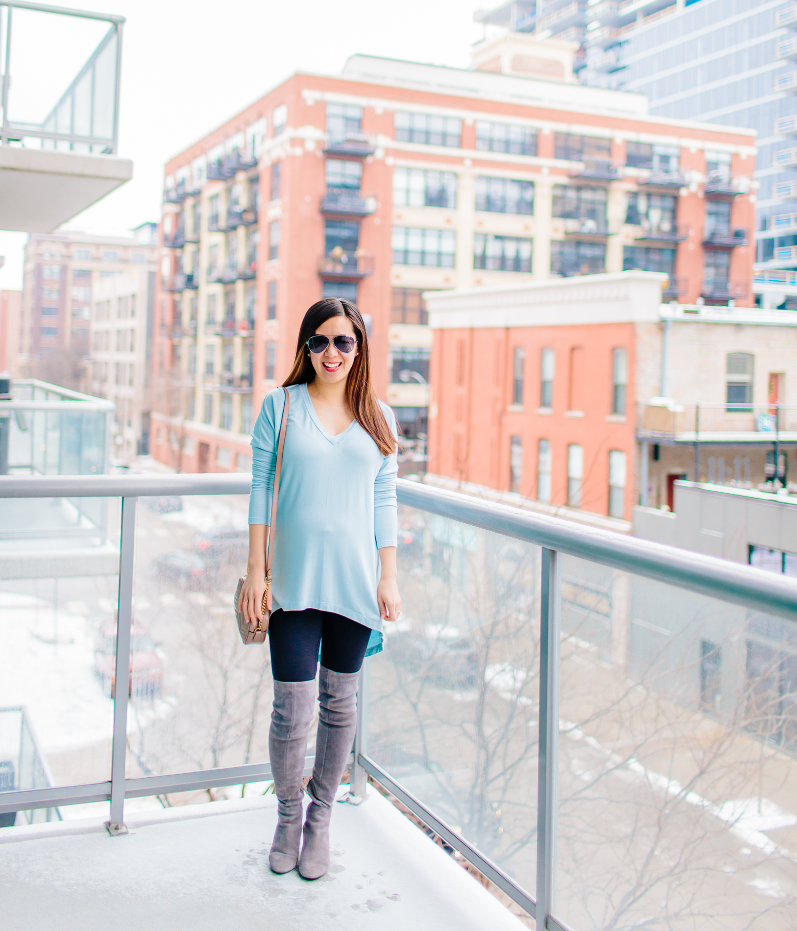 Light Blue Tunic, Over the Knee Boots, and Gucci Marmont Matelasse Shoulder Bag, Tia Perciballi Fashion & Lifestyle Blog