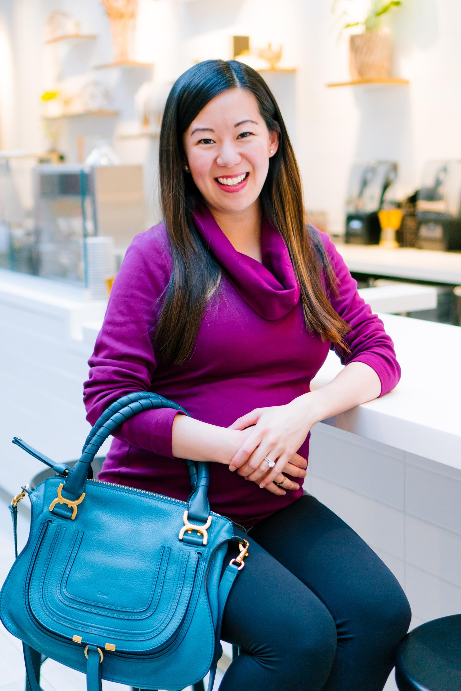 Organic Cotton Cowl Neck Top and Chloe Marcie Handbag, Tia Perciballi Fashion & Lifestyle Blog