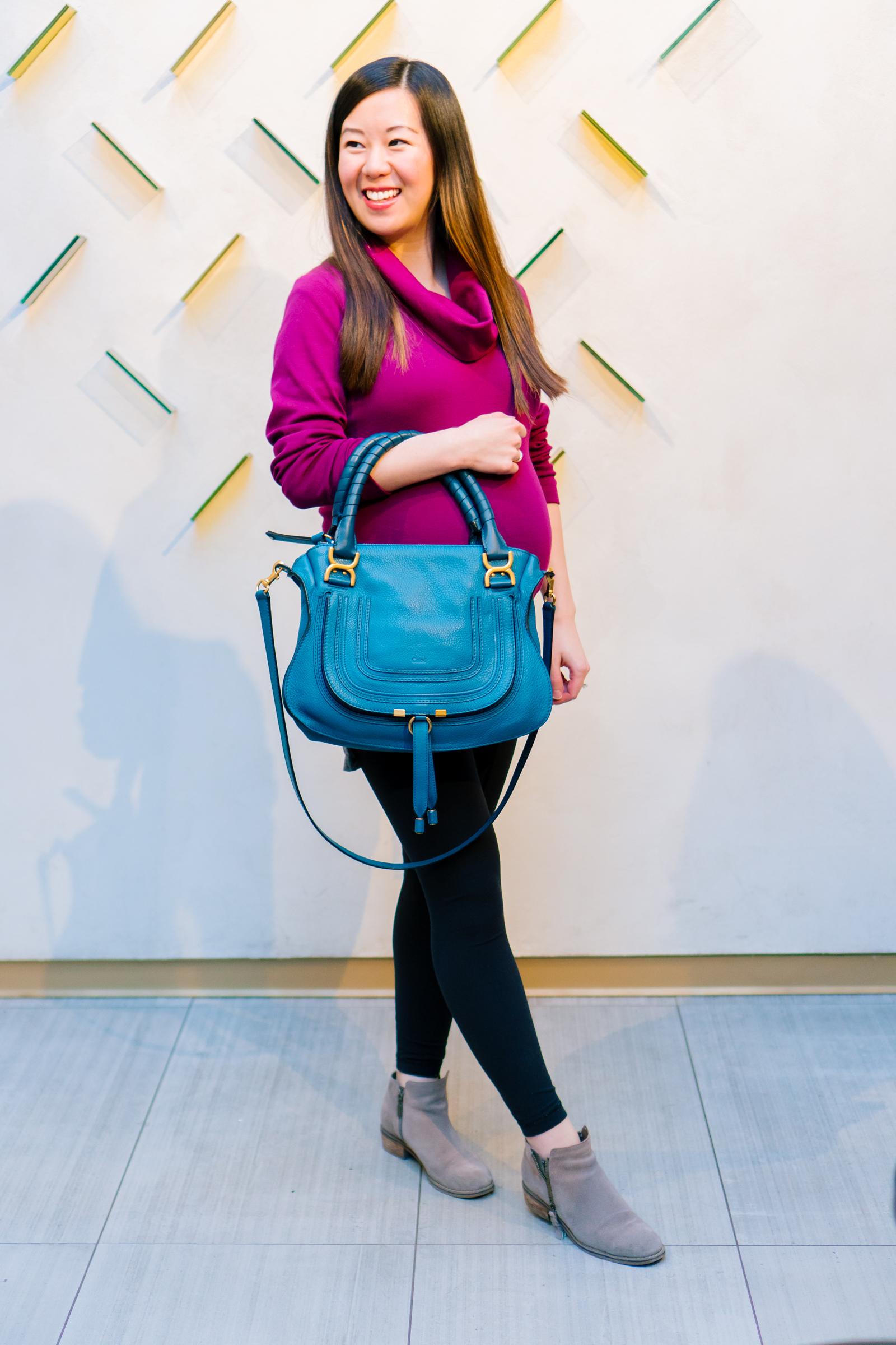Organic Cotton Cowl Neck Top and Chloe Marcie Bag, Tia Perciballi Fashion & Lifestyle Blog